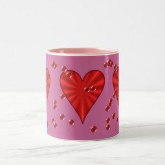 Hearts & Bubbles (on Pink) Two-Tone Mug