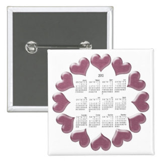 Hearts Calendar Gifts 15 Cm Square Badge