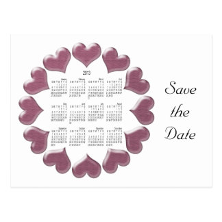 Hearts Calendar Gifts Postcard