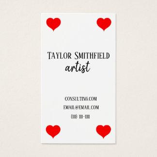 hearts card deck modern trendy business card
