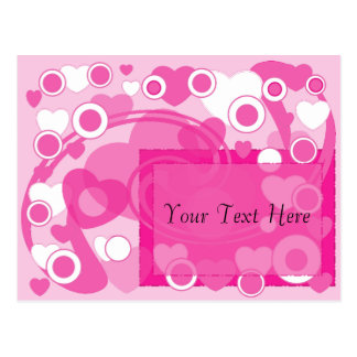 Hearts Circles Pinks Save the Date Postcard