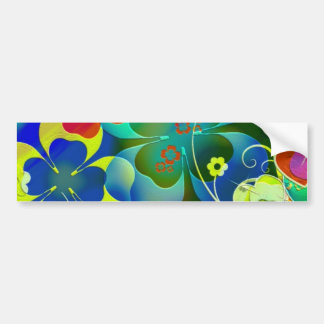 Hearts, Clovers and Flowers in Abstract Art Bumper Sticker