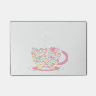 Hearts Coffee Cup Post It Note Pad