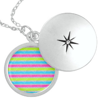 Hearts Cute Print Sterling Silver Round Locket
