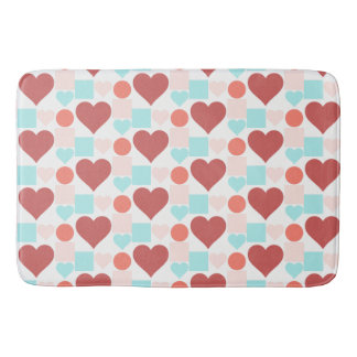 Hearts, Dots & Squares! in Aqua Rose & Salmon Bath Mat