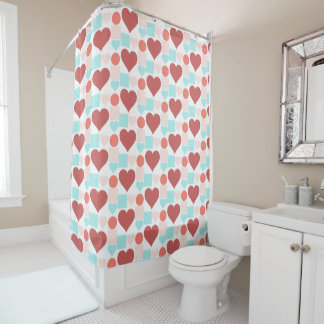 Hearts, Dots & Squares in fresh aqua rose salmon Shower Curtain