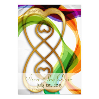 Hearts Double Infinity Rainbow -Save The Date Personalized Invites