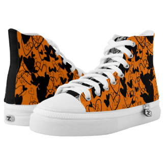 Hearts Dramatic Black Orange Powerful Vibrant Chic High Tops