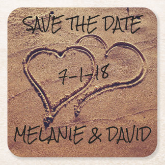Hearts Drawn in Beach Sand Save the Date Coaster