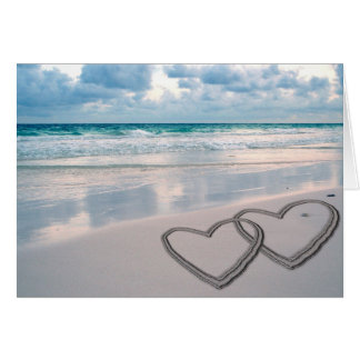 Hearts Drawn in the Sand Greeting Card