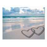 Hearts Drawn in the Sand Postcards