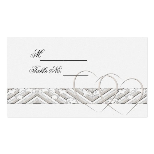 Hearts Entwined with Floral Border in W Place Card Business Cards