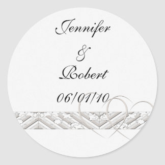 Hearts Entwined with Floral Border in White Silver Round Sticker