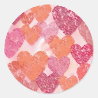 Hearts Envelope Seal Round Sticker