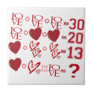 hearts equation valentine's day design ceramic tile