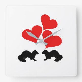Hearts & Ferrets Square Wall Clock