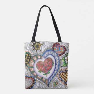 Hearts & Flowers, 2sided Tote w/Original Art