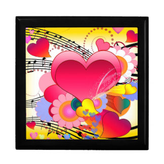 Hearts Flowers and Music Notes Gift Box