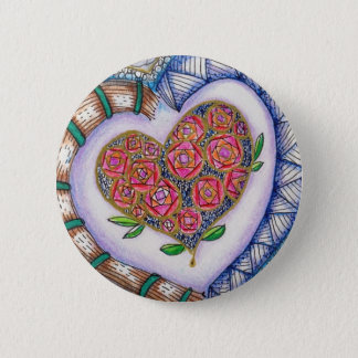 Hearts & Flowers Detail (2.25 inch round) 6 Cm Round Badge