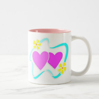 Hearts & Flowers For Valentine's Day Two-Tone Mug