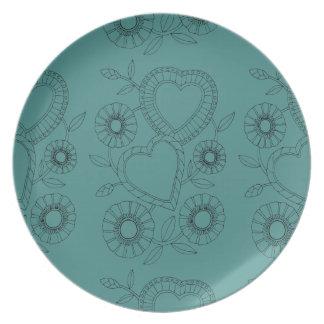 Hearts Flowers Line Art Design Plate