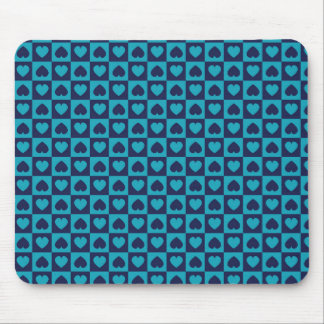 Hearts Galore Navy and Turquoise Mousepads