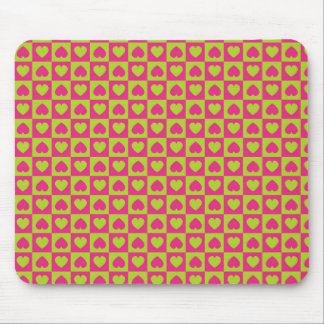 Hearts Galore Pink and Green Mouse Pad