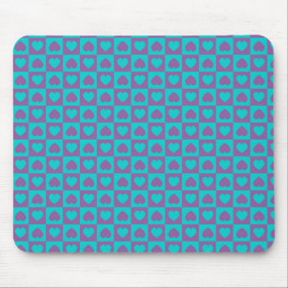 Hearts Galore Purple and Blue Mouse Pad