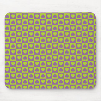 Hearts Galore Purple and Lime Mouse Pad