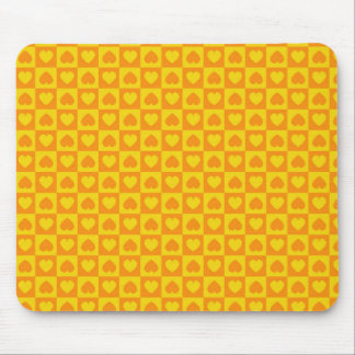 Hearts Galore Yellow and Orange Mousepads