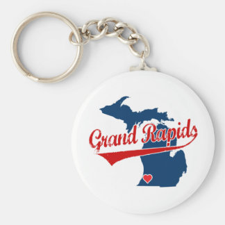 Hearts Grand Rapids Michigan Basic Round Button Key Ring