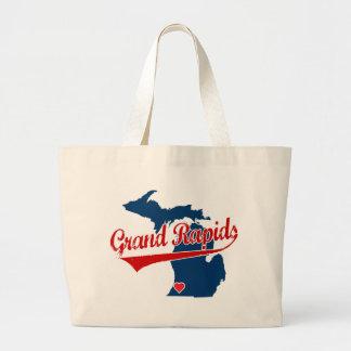 Hearts Grand Rapids Michigan Large Tote Bag