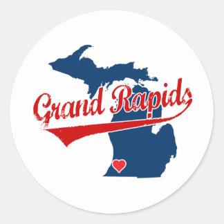 Hearts Grand Rapids Michigan Round Sticker