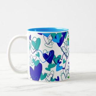 Hearts Group Blue Vibrant Attractive Ladylike Two-Tone Coffee Mug