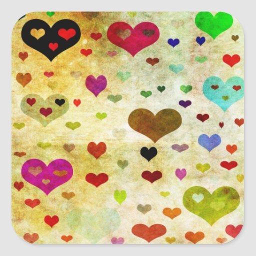 Hearts-Grunged Square Stickers