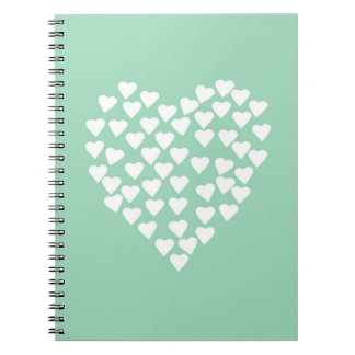 Hearts Heart White on Mint Notebooks