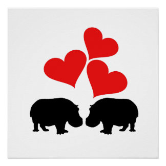Hearts & Hippos Poster