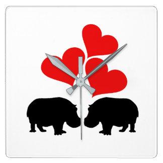 Hearts & Hippos Square Wall Clock