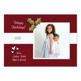Hearts & Holly Photo Card 13 Cm X 18 Cm Invitation Card