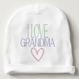 Hearts I love Grandma Grandmother Baby Shower Gift Baby Beanie