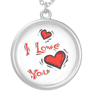 hearts I love you text design valentine Round Pendant Necklace
