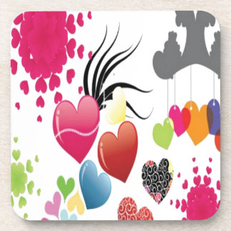 Hearts illustrations design drink coaster