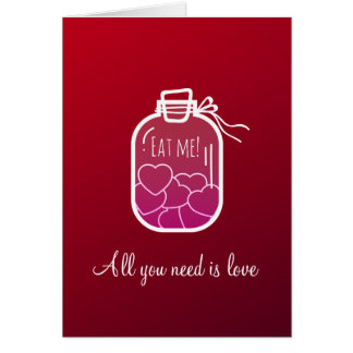 Hearts in glass jar card