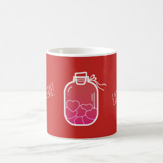 Hearts in glass jar coffee mug