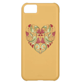 Hearts-In-Heart-On-Beeswax-Orange-Yellow-Pattern iPhone 5C Case