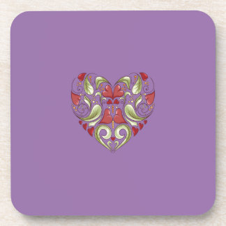 Hearts-In-Heart-On-Bellflower-Violet-Pattern Drink Coaster