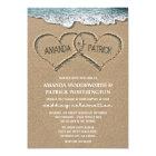 Hearts in the Sand Beach Shore Wedding Invitations