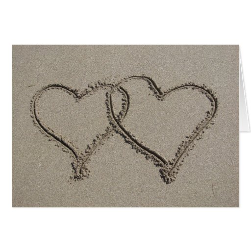Hearts in the Sand Greeting Cards