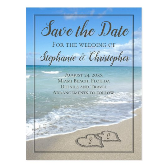 Hearts in the Sand Monogram Save the Date Wedding Postcard