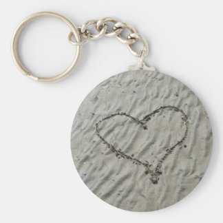 Hearts in the Sand Ripples Basic Round Button Key Ring